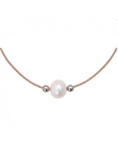 Collier essentiel une Perle de culture blanche sur cordon assorti