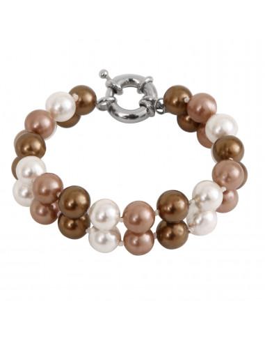 Bracelet 2 rangs perles de nacre dégradé de dorés