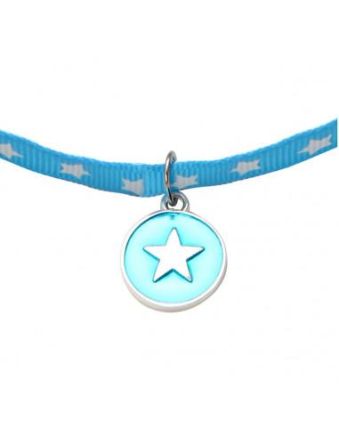 Collier Médaille ronde étoile en métal argenté émaillée bleue