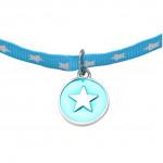 Collier médaille ronde étoile métal argenté émaillée bleue