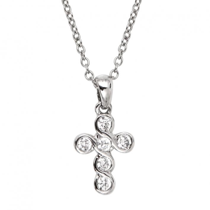 Collier pendentif croix arrondie cristal sur chaine argentée