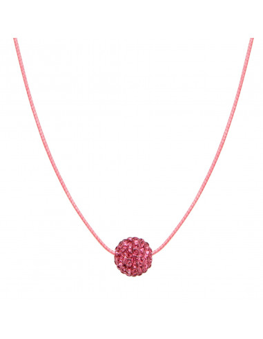 Collier une perle shamballa rose sur cordon assorti