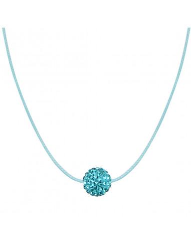 Collier une perle shamballa turquoise sur cordon assorti