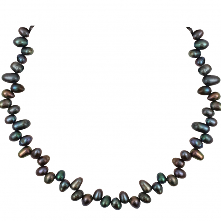 Collier un rang de perles de culture 'pluie' noires