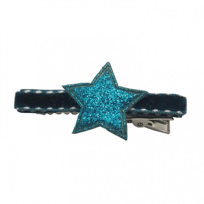 Barrette cheveux enfant étoile turquoise pince sur velours