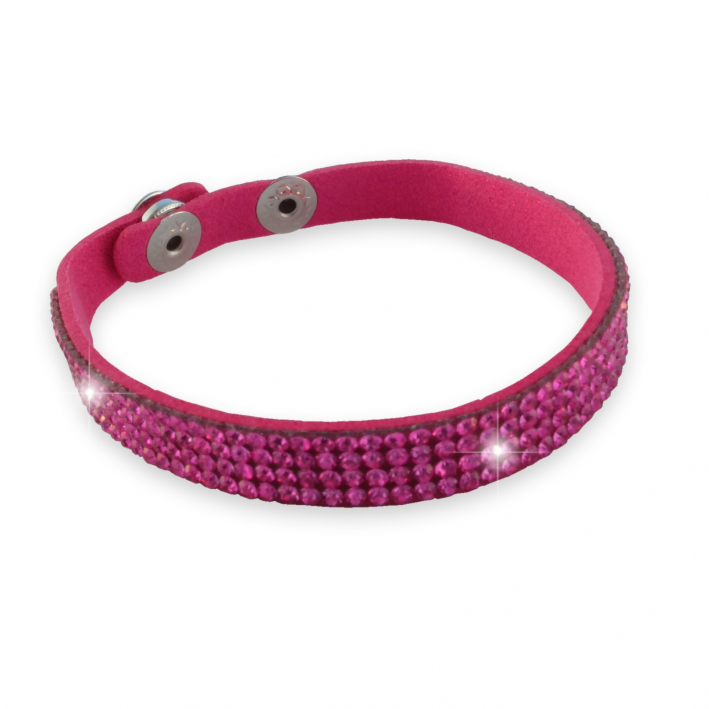 Bracelet simple  tour strass rose sur cuir assorti