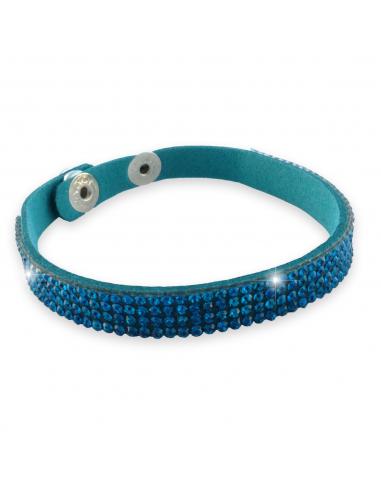 Bracelet un rang de strass turquoise sur cuir assorti