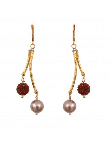 Boucles d'oreilles perles de nacre et shamballas doré sur tubes