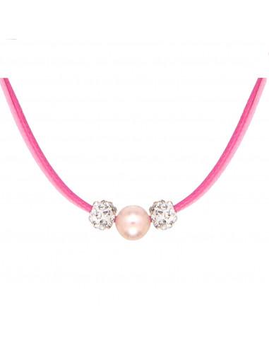 Collier double cordon rose une perle de nacre blanche encadrée de perles shamballas