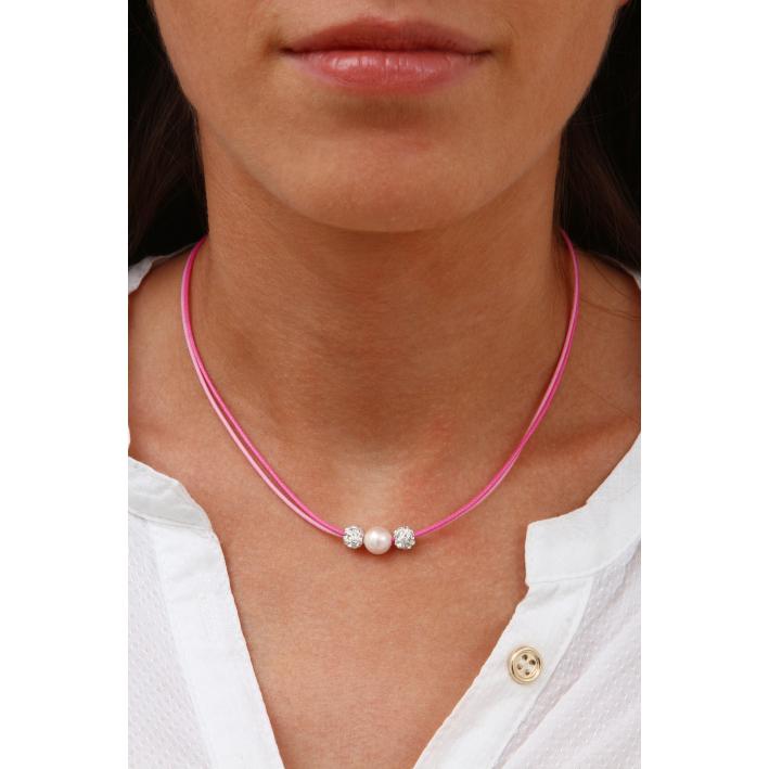 Collier double cordon rose perle nacre blanche et shamballas