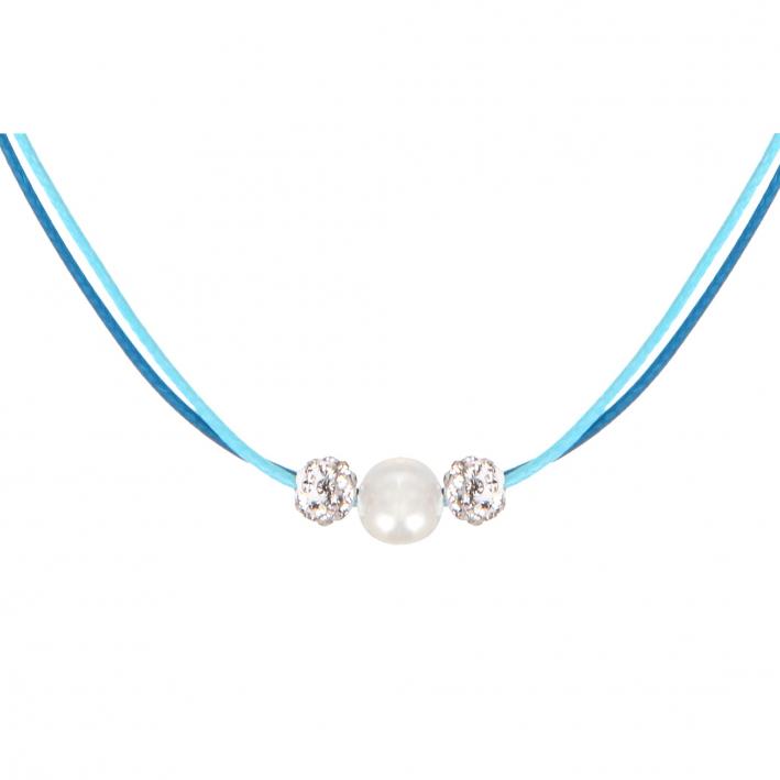 Collier double cordon bleu perle nacre blanche et shamballas