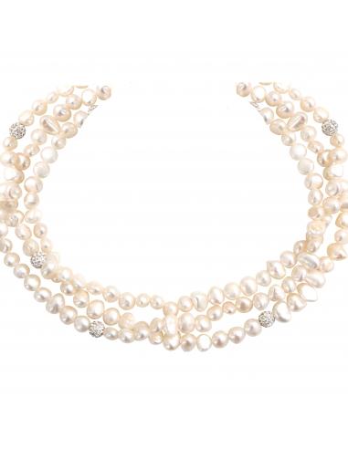 Collier prestige triple rangs perles et shamballas scintillants