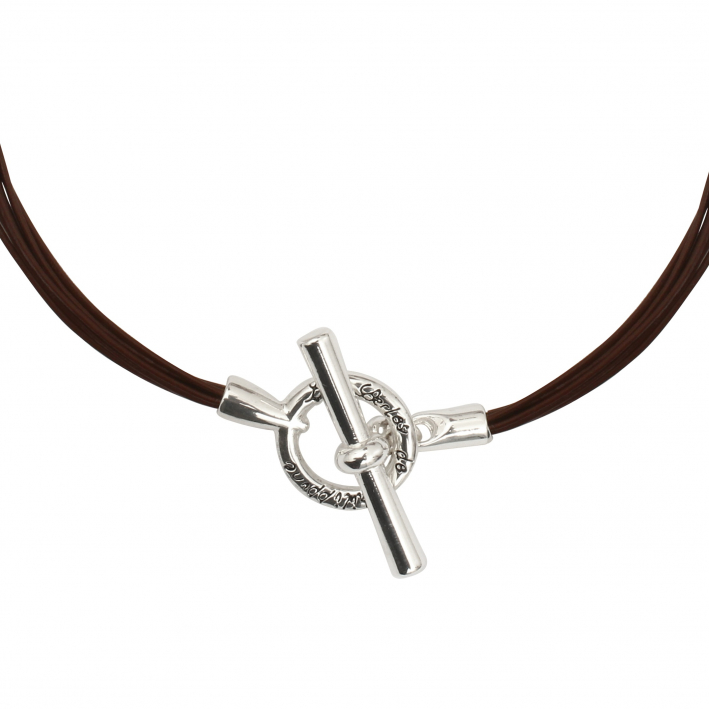 Collier cavalier multi rangs cuir marron fermoir métal