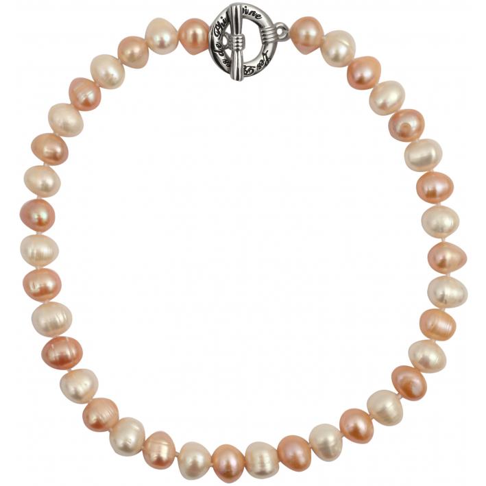 Collier prestige perles de culture rares tons pêches