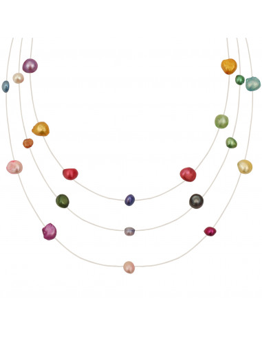 Collier 3 rangs de perles baroques multicolores sur fil transparent