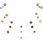 Collier 3 rangs perles multicolores sur fil transparent