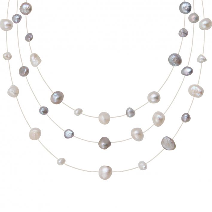 Collier 3 rangs perles baroques argentées sur fil transparent