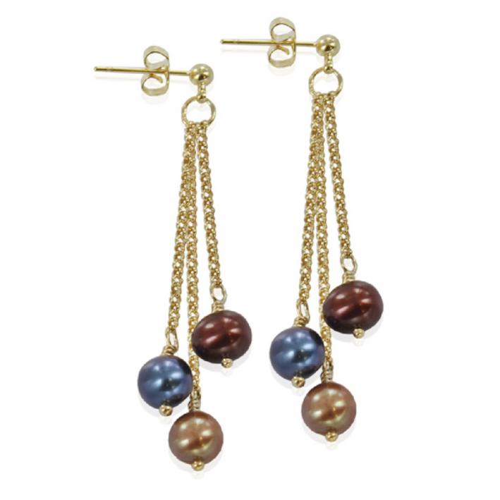 Boucles d'oreilles perles de culture prestigieuses dorées