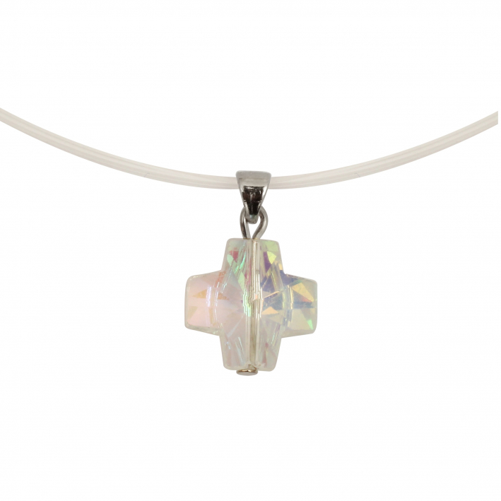 Collier croix en cristal blanc sur multirangs transparents