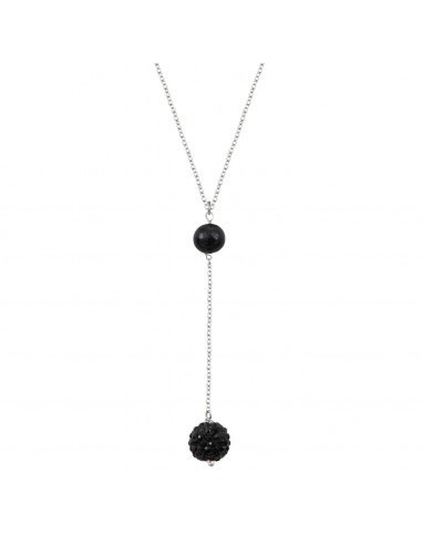 Collier cravate duo shamballa et perle de culture noires