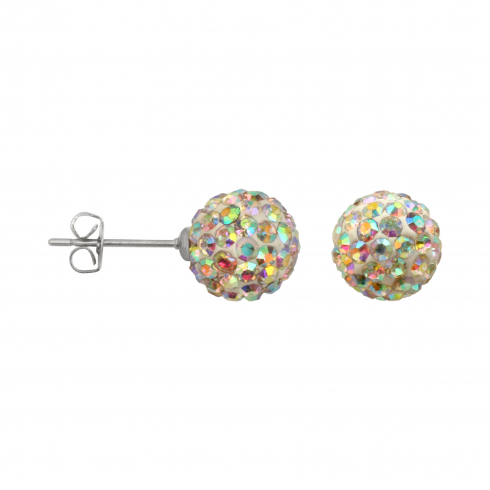 Boucles d'oreilles puce perles shamballa blanches
