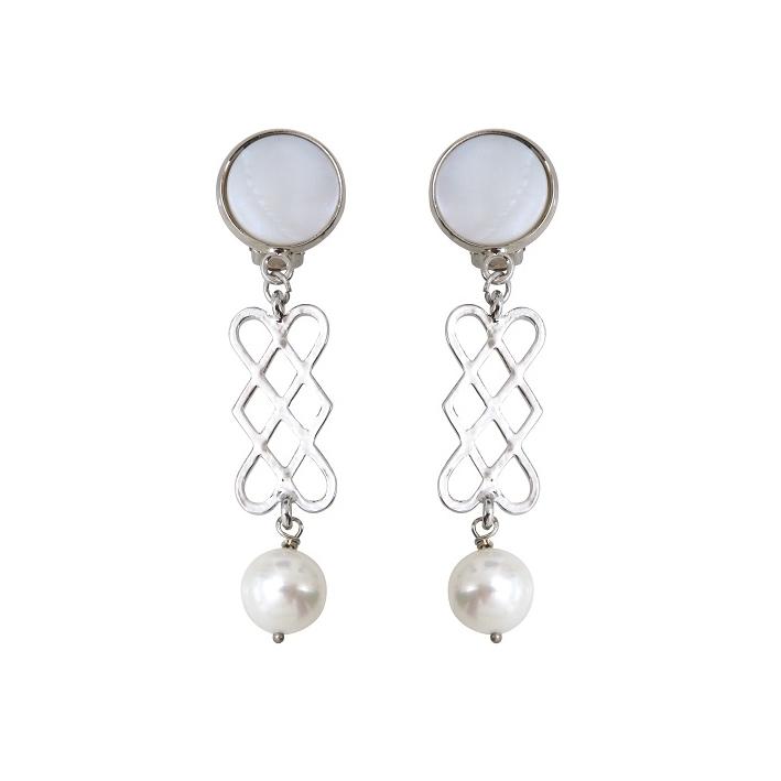 Boucles d'oreilles prestige perles de culture et volutes argentées