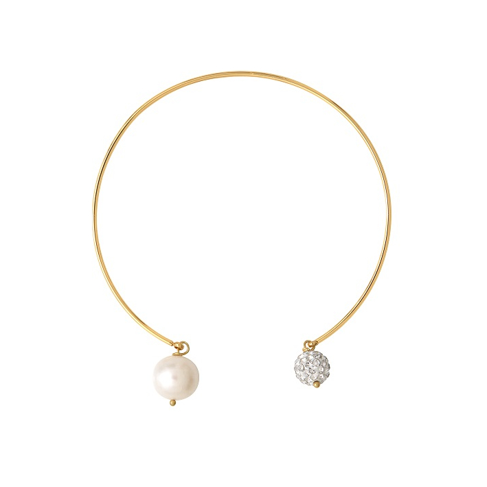 Bracelet jonc doré duo de perles de culture et de perles shamballas blanches