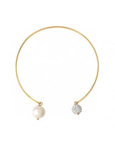 Bracelet jonc doré duo de perles de culture et shamballas