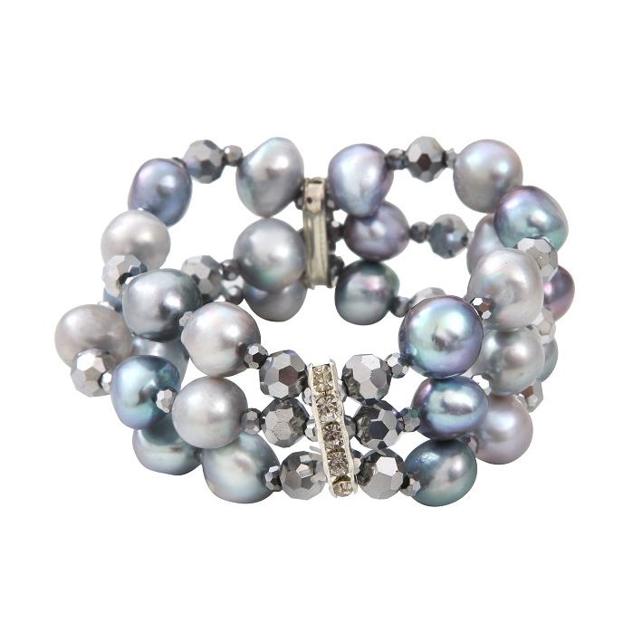 Bracelet prestige 2 rangs perles de culture et hématites facettées