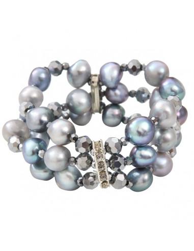 Bracelet prestige 3 rangs perles de culture et hématites facettées