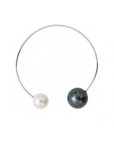 Bracelet jonc 2 splendides perles de nacre bicolore sur argenté