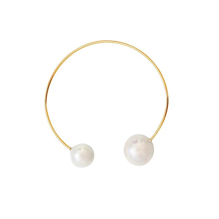 Bracelet jonc 2 splendides perles de nacre blanches sur doré
