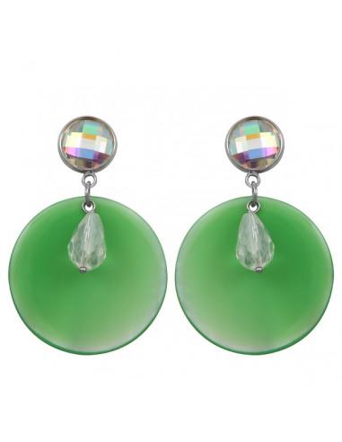Boucles d'oreilles clip cristal et nacre verte - Esprit Nature