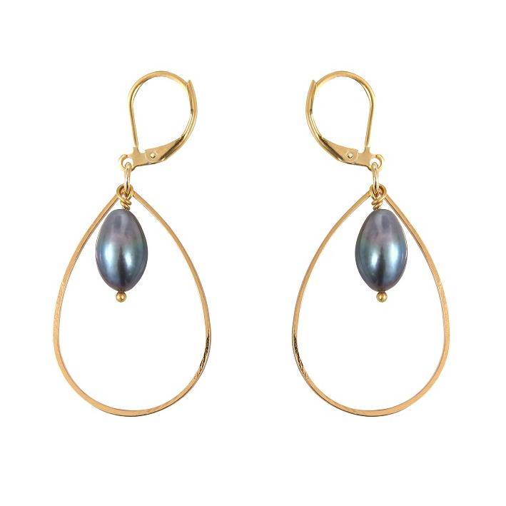 Boucles d'oreilles magnifiques perles de culture de couleur noire sur doré