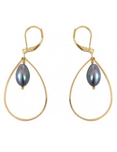 Boucles d'oreilles perle de culture noire authentique sur métal doré