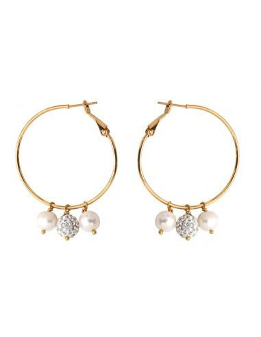 Boucles d'oreilles perle de culture blanche et perle Shamballa