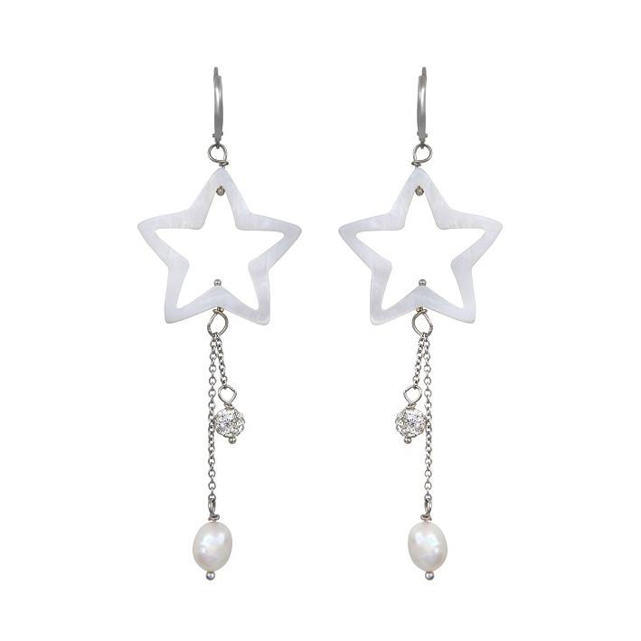 Boucles d'oreilles étoile de mer nacre naturelle et shamballa bleu