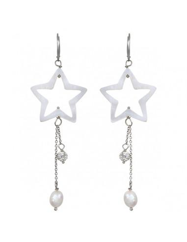 Boucles d'oreilles étoile nacre naturelle et shamballa blanc