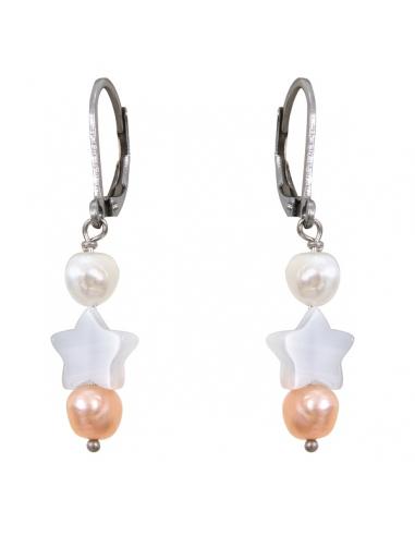 Boucles d'oreilles en perle de culture et étoile de nacre blanche
