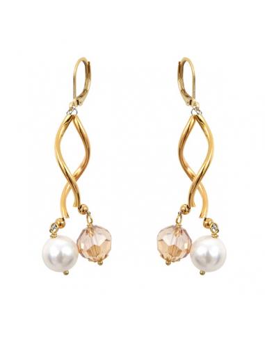 Boucles d'oreilles tubes dorés perles de cristal et de nacre