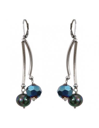 Boucles d'oreilles tubes argentés perles de cristal et de nacre
