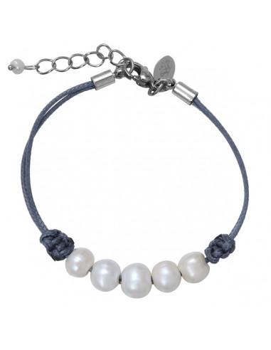 Bracelet perle culture argentée 5 rangs sur cordon gris