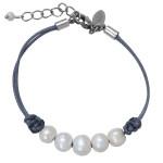 Bracelet perles de culture argentées cordon gris perle