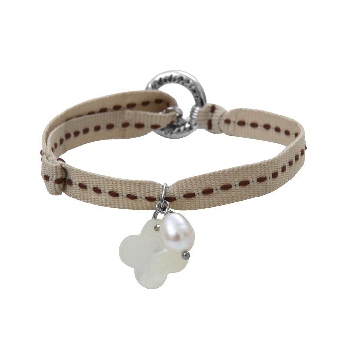 Bracelet breloque nacre trèfle ruban sellier chocolat