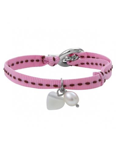 Bracelet nacre cœur et perle de culture sur ruban sellier rose