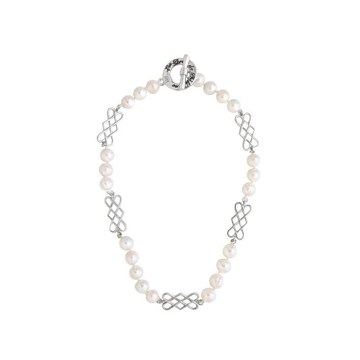 Collier prestige perles de culture et volutes argentées