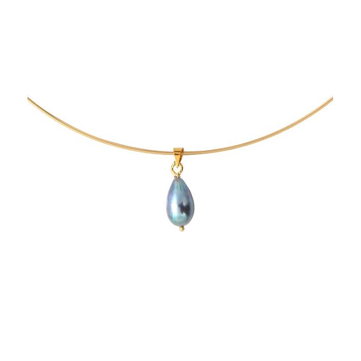 Collier jonc une magnifique perle de culture de couleur noire sur doré