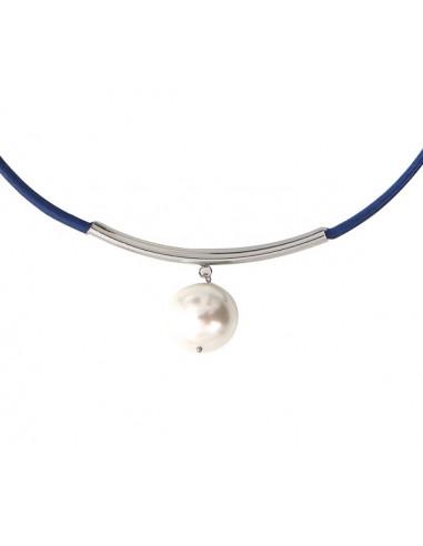 Collier cuir bleu marine une magnifique perle de nacre