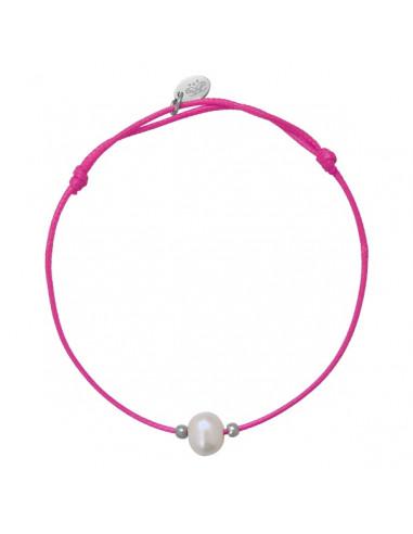 Bracelet perle fantaisie de culture blanche et cordon rose