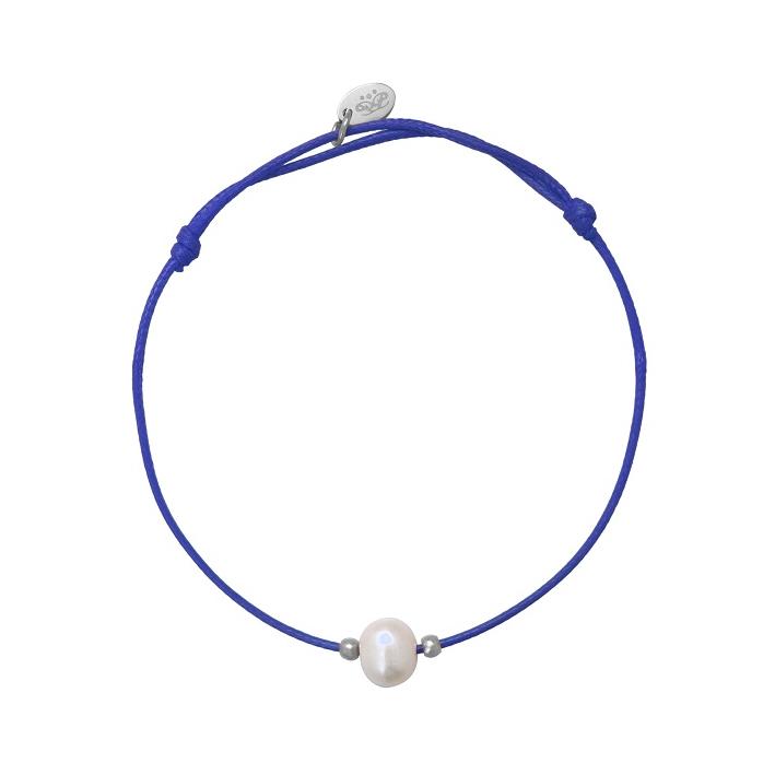 Bracelet ajustable une perle de culture blanche cordon rose